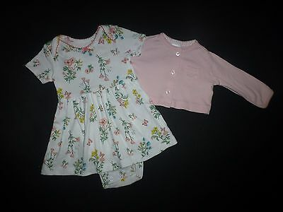 Carter's Baby Girls Floral Romper Dress & Pink Cardigan Outfit Set 3 Months