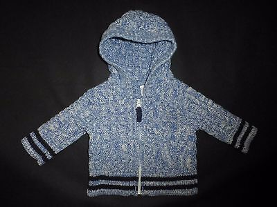 Baby Gap Boys Blue Hooded Cable Knit Cotton Sweater 0-3 Months