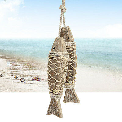 2Pcs Wooden Hanging Fish Hand Carved Nautical Seaside Coastal Wall Home Decor
