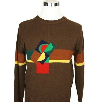 Vtg 70s Mod Hipster Geometric Disco Brown Blue Green Red Crew Neck Sweater L