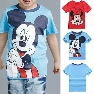 Mickey Minnie Mouse Tee Baby Boy Girl Short Sleeve T-shirt Casual Cotton Tee Top