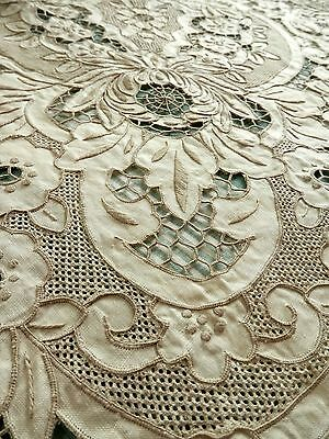 Vtg Hand Embroidered Linen Table Cloth Cutwork Madeira Style & 8 Napkins New