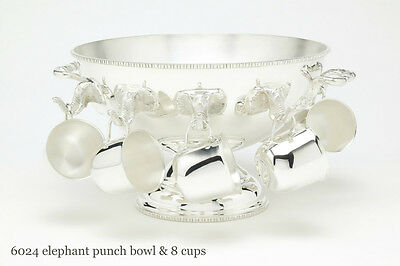 ElephantTruck Punch Bowl~Silver Plated -Beautiful & Unique with cups