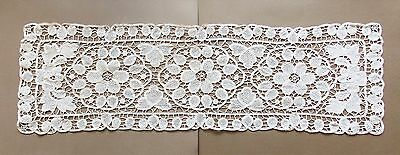 Vintage Hand Crotcheted Cream Cotton Lace 23cm X 81cm Oblong Runner
