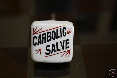 Carbolic Salve Antique Porcelain Apothecary DRUG CABINET KNOB  Drawer Pull