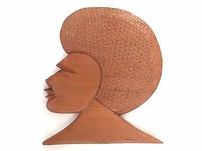 Retro Wall Hanging Wooden Vintage African Islander Lady Woman With A Fro