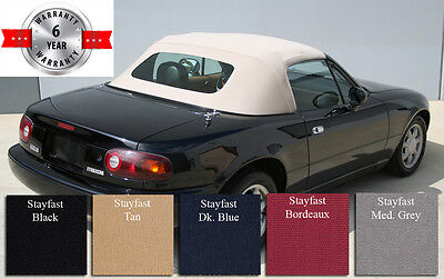 Mazda Miata MX5 1 Piece Convertible Top With Tinted Glass, Stayfast Cloth, 90-05