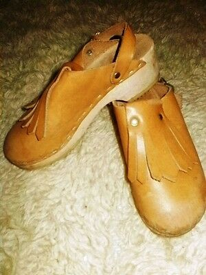Swedish Wood Leather Clogs 31 Fringe Vintage 70's 80s Shoes US Size 13.5 - 1
