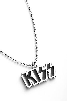 Kiss Metal Pendant with Chain Ball Necklace Black