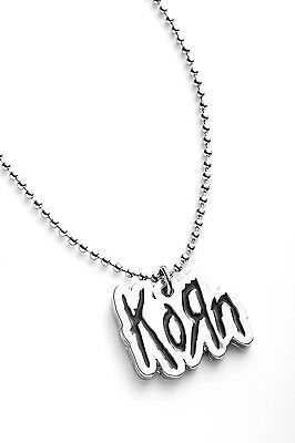 Korn Metal Pendant with Chain Ball Necklace Black