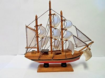 Vintage Wood Display model Sail Boat-Ship