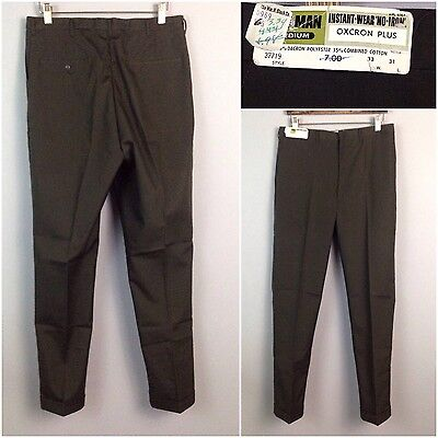 Vintage NOS 60s Mod Dark Brown Sta Prest Straight Leg Pants Slacks 32x31 Unworn