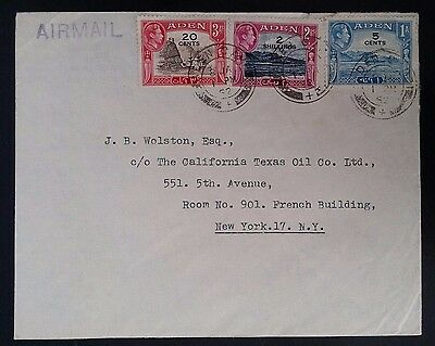 SCARCE 1942 Aden Airmail Cover ties 3 stamps with surcharges to New York USA