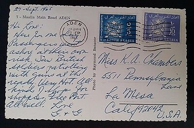 "1965 Federation of South Arabia Postcard ""Main Rd Aden"" ties 2 stamps canc Aden"