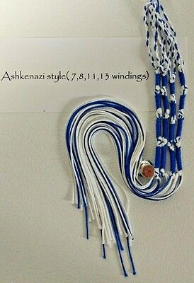 Tzitzit,Tassles, Braided loop, Royal Blue / Snow White Judaica/Messianic Fringes