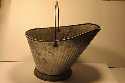 Vintage Metal Coal Ash Bucket Primitive Country Zinc Galvanized Scuttle