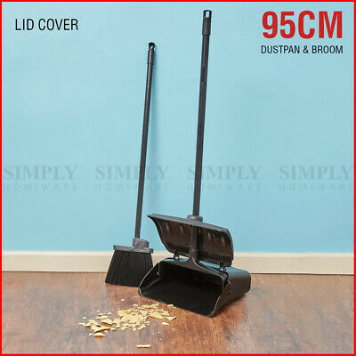Dustpan and Brush Broom Set Dust Pan Long Black Sweep Lobby Garden Lid Cover 95