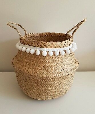 Seagrass Handwoven Belly Basket With White Pom Poms.
