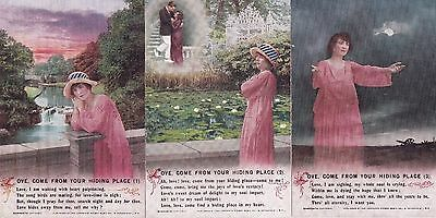 """WWI-""""Love, come from your hiding place"""" set of Bamforth 'SONG' postcards"""