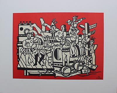 Fernand Leger Original Lithograph La Grande Parade On Red Background 1980's