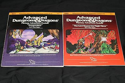 TSR's AD&D MODULES EX1 & EX2 DUNGEONLAND & THE LAND BEYOND THE MAGIC MIRROR N/M