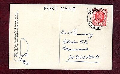 RHODESIA STAMPS- Victoria Falls photo card,  to Holland,1954 Nyassaland