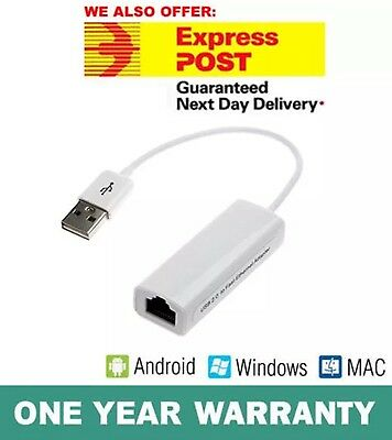 USB 2.0 to Ethernet LAN RJ45 Adapter 10/100Mbps for Mac & Windows Brand New