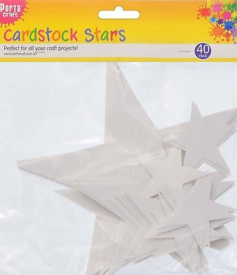 * Porta Craft * Cardstock Stars Assorted Sizes 40 Pack White