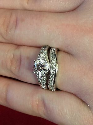 Beautiful Sterling Silver Diamond Ring Set Size P * Engagement * Bridal Set *
