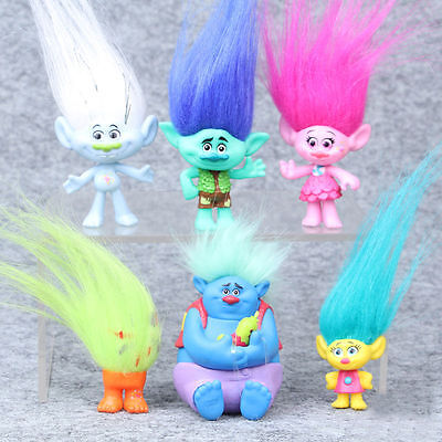 Trolls Movie Dreamworks Figure Collectible Dolls Poppy Branch 6Pcs Set 8cm Gifts