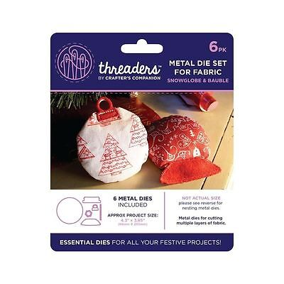 Threaders - Mixed Media Metal Card + Fabric Die Set - Xmas Snowglobe & Bauble