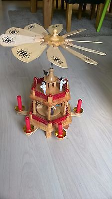 Vintage German Wooden Christmas Nativity Candle 2 Tier Pyramid Carousel