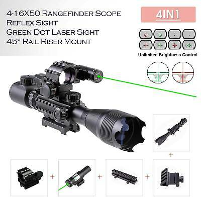 Rifle Scope 4-16x50 Illuminated Reticle w/ Red Green Dot Sight and Green Laser