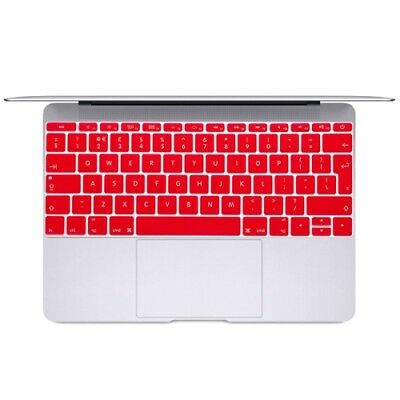 TECNICO Red Soft 12 inch Translucent Colorized Keyboard Protective Cover Skin f