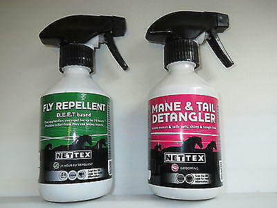 2 x Nettex horse sprays, Fly repellent and Mane and tail detangler Net-Tex
