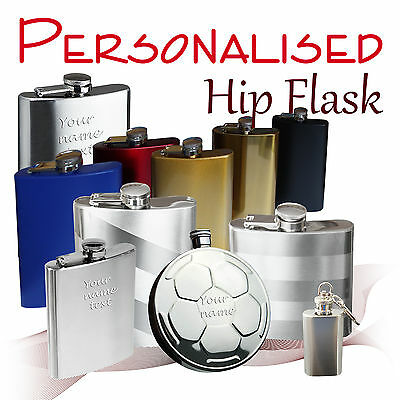 Personalised Hip Flask * matt/polished* 1 - 8 oz  *wedding* groom usher best man