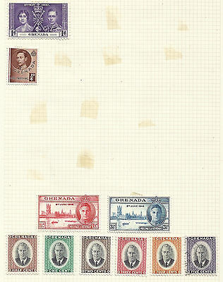 Grenada selection of stamps on 3 pages - mainly mint
