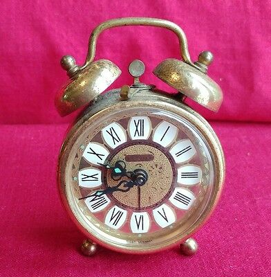 Vintage Estyma West German Brass Wind Up Alarm Clock Retro - Works