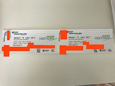 2x Aegon Championship tickets - FRONT ROW BEHIND BASELINE!!