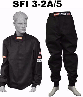 Fire Suit Sfi 5 Racing Jacket Pants 3-2A/5 Rated Black Size 4X Imsa Scca Nasa