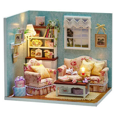 1 Set Wood Diy Mini Dollhouse Miniatures Furniture Kits W Dust Cover Playset Toy