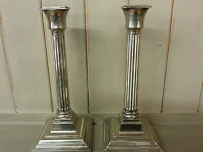 "Antique silver plate pair candlesticks square fluted base candle holders 7"" high"