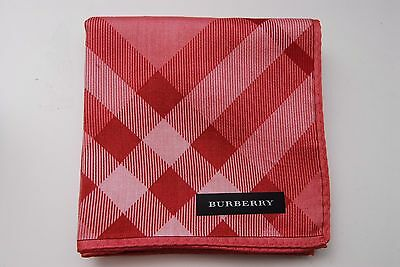New Burberry Handkerchief 100% Cotton 49cm Pink Red Check Scarf Pocket square
