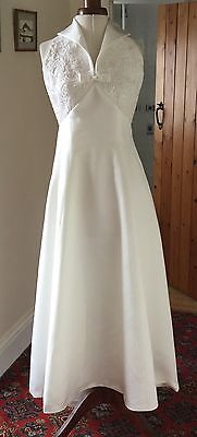VINTAGE 1990's IVORY HALTER-NECK WEDDING DRESS BY ROMANTICA DEVON