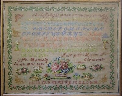 FRENCH ANTIQUE SAMPLER Marie-T.Clement 1868 CROSS STITCH PATTERN CHART