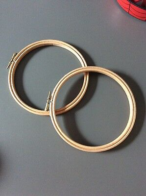 2 X Wooden Embroidery Hoops 6 Inch Diameter