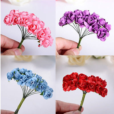 144pcs Mini Paper Rose Artificial Flower Wedding Decoration DIY Wire