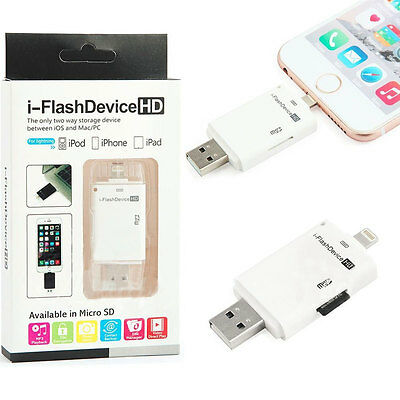 i-Flash USB Drive Micro SD TF Memory Card Reader Adapter For iPhone Android iPad