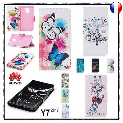Etui Housse Coque porte-cartes Cuir PU Leather Wallet Case Huawei Y7 (2017)