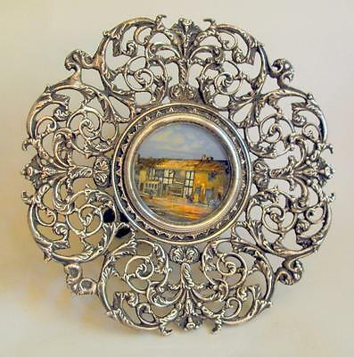 Vintage / antique metal comport with central Shakespeare birthplace plaque 11335